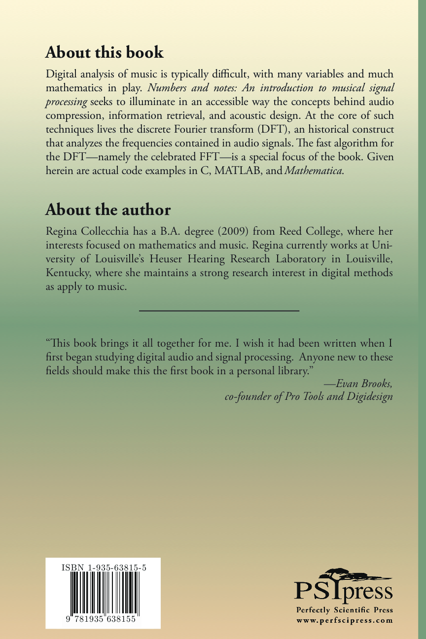 Numbers and Notes, back cover